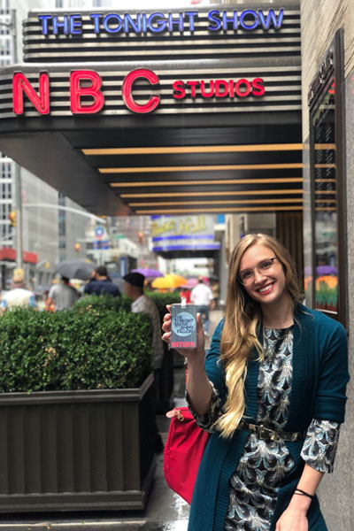"""Fashion Student Rose Luciano standing in front of """"The Tonight Show"""" entrance"""