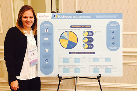 Katie Goldring from Kent State's Center for Student Involvement stands with the winning entry that received the Best Poster Award from the Consortium for Student Retention Data Exchange. The poster was on the university's FLASHperks program.