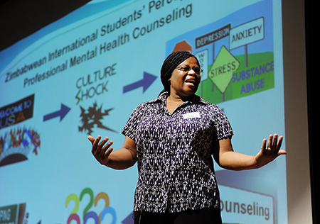 Emily Mupinga, doctoral student in counselor education and supervision, presents her Three Minute Thesis in the 2016 Three Minute Thesis Finals.