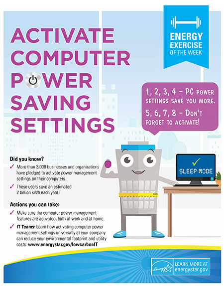 Energy Tip of the Week: Activate Computer Power Saving Settings