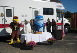 Kent State University's Flash joined forces with other local mascots to mark National Preparedness Month and emphasize the importance of emergency preparedness.