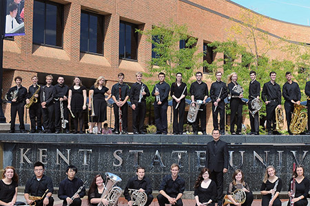 "Pictured is the Kent State Wind Ensemble, part of the Hugh A. Glauser School of Music, which was named a top 10 ""Hidden Gem"" by Music School Central."