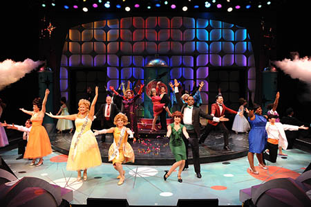 Actors perform on stage at Porthouse Theatre on the grounds of Blossom Music Center during the summer 2015 production of Hairspray.
