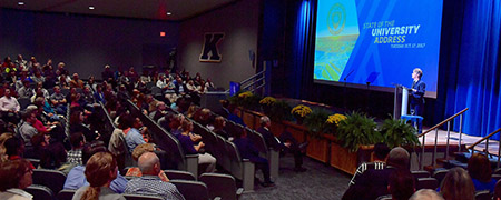 Kent State University President Beverly Warren delivers the 2017 State of the University Address in the Kent Student Center Kiva.