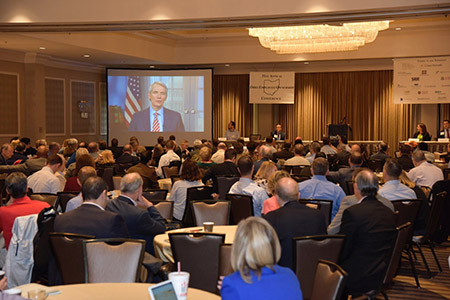 Senator Portman addresses attendees at the Ohio Employee Ownership Conference.