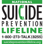 National Suicide Prevention Lifeline. 1-800-273-TALK (8255) suicidepreventionlifeline.org