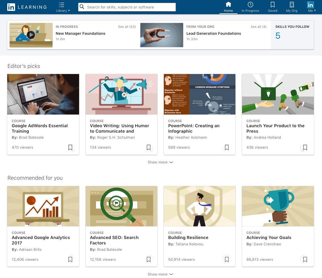 LinkedIn Learning New Interface