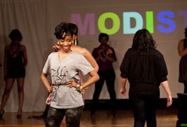 Kent State students model fashions during the Modista Fashion show held during Black History Month.