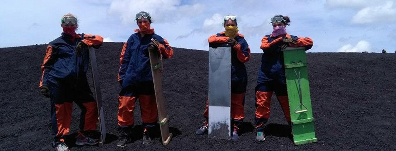 Board riding down Cerro Negro, an active volcano in Nicaragua
