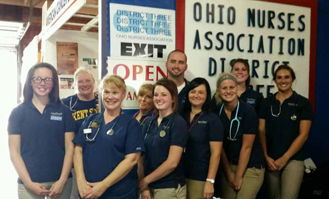 Student nurses and faculty volunteering at the recent Canfield Fair from the Kent State East Liverpool Campus