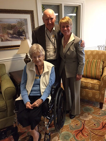 Kent State University President Beverly Warren (right) stands with Mr. and Mrs. Joseph and Frances Stevens, who established the Stevens Family Scholarship for Kent State's College of Business Administration.