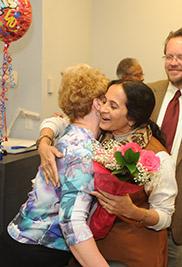 Uma Krishnan, associate lecturer of English at Kent State University, expresses joy at being awarded a 2013 Outstanding Teaching Award.