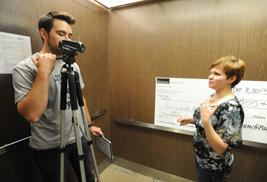 A Kent State University student makes a 90-second pitch in a university library elevator to promote her business.