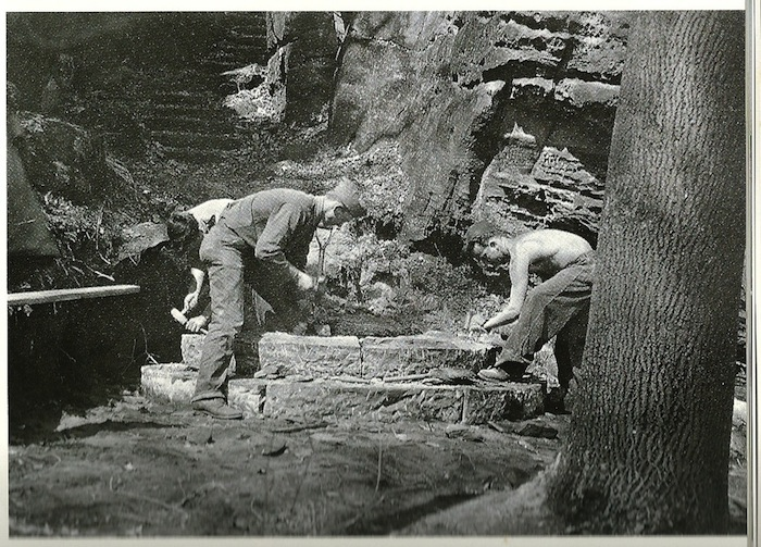 CCC Workers laying stone steps on Ledges Trail