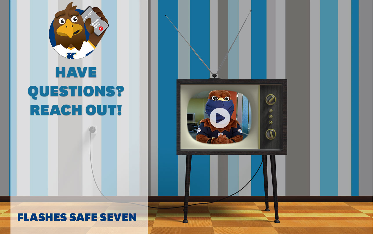 Flashes Safe Seven: Have Questions? Reach Out! TV screen with embed of Flash talking to President Diacon about who to call with health-related questions. Image placed with playhead over the TV to indicate video link.