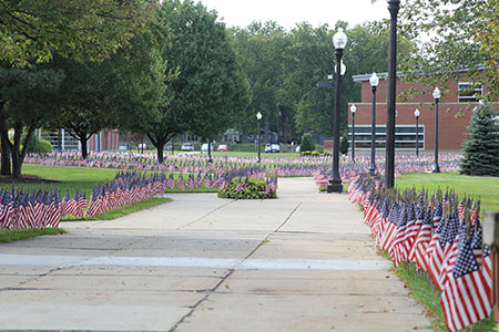 The walkways at Kent State University at Ashtabula were lined with thousands of American flags in honor of those who lost their lives in the Sept. 11 attacks.