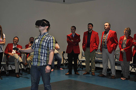 A student uses the technology in the new Kent State Salem virtual reality classroom.