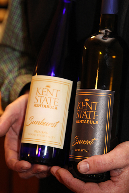 Pictured are wine bottles with the Kent State Ashtabula label.