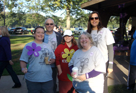 Brandy Mayoras, Daniel Raymond-Nadon, Becca Currence, Pat Rogan and Christine Fowler represented the cast and crew of Kent State Trumbull Theatre's production of Day Trips at the Alzheimer's Association Walk.