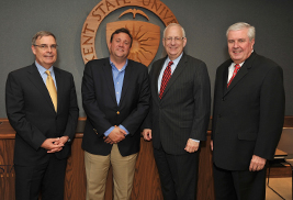 Kent State University's newest degree - a bachelor's of insurance studies - came to fruition through the work of industry leaders and the university. Pictured (left to right) are James R. Clay, group leader and CEO of the Westfield Group; Rich Frederick, executive director of the Office of Workforce Transformation for Gov. John Kasich; Kent State President Lester A. Lefton; and John Bishop, president, chairman and CEO of Motorists Insurance.