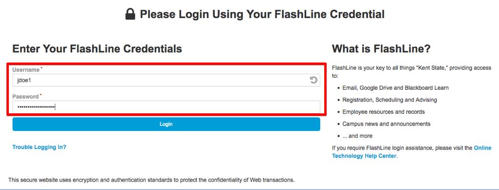 Screenshot of FlashLine login page
