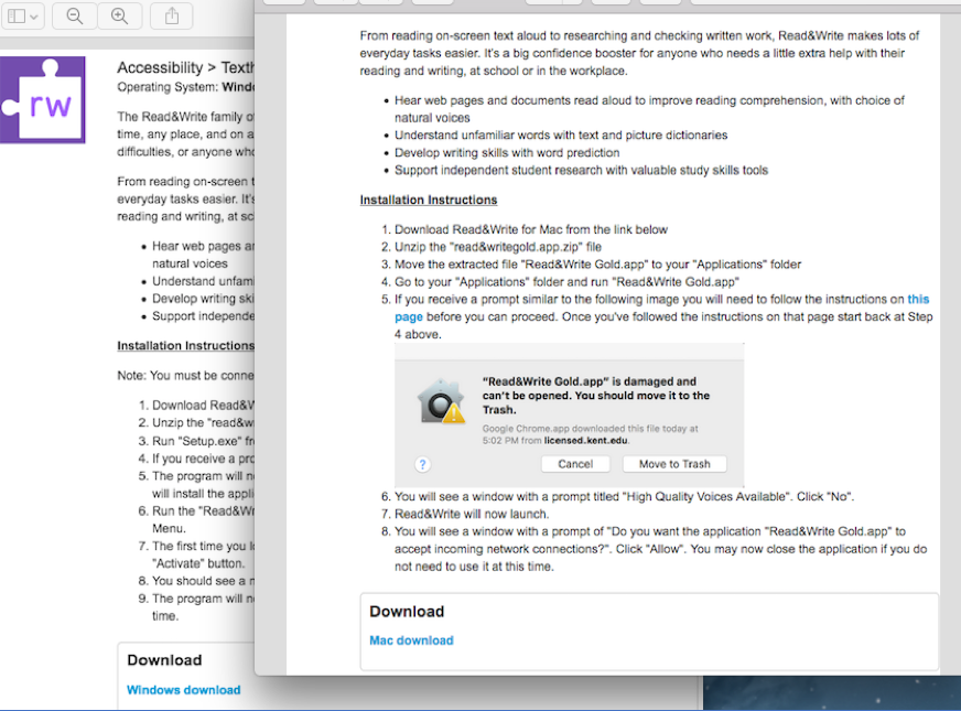 Screenshot of MAC popup message