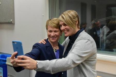 Amanda Rabinowitz with President Beverly Warren