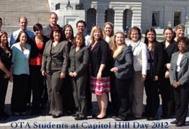 Kent State University at East Liverpool students, faculty and staff attended the 2012 Hill Day in Washington, D.C. The Kent State East Liverpool group were from the occupational therapy assistant program.