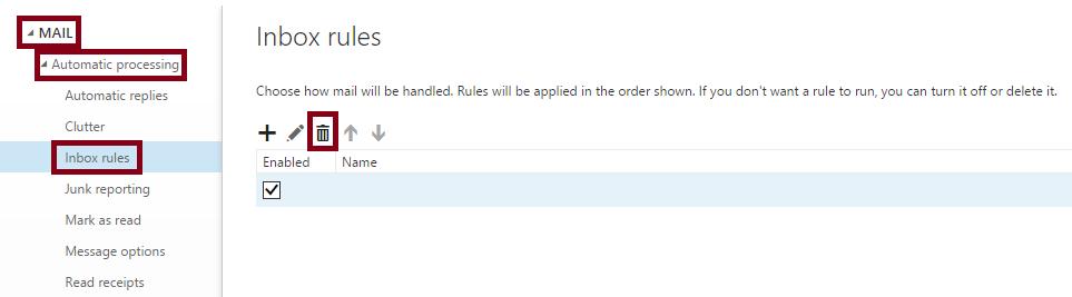 Outlook Web App Rules