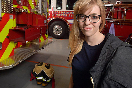 Kent State junior Brooke Mullins serves as a volunteer firefighter for the Lordstown Fire Department - Station 36.