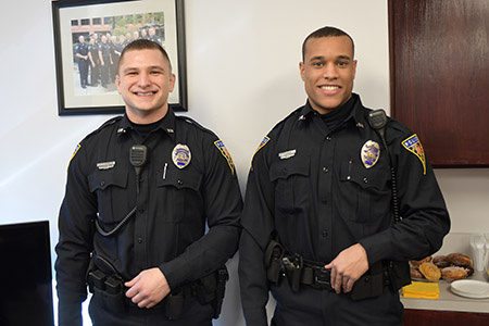 Trevor White (left) and Terrance Duncan (right) are Kent State Police Services' newest officers.