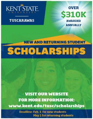 Over $310k awarded annually. New and Returning Student Scholarships. Deadline: Feb. 1 for new students, May 1 for returning students. Visit our website for more information: www.kent.edu/tusc/scholarships