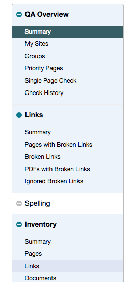 SiteImprove left-hand navigation image. Click on inventory and then on links.