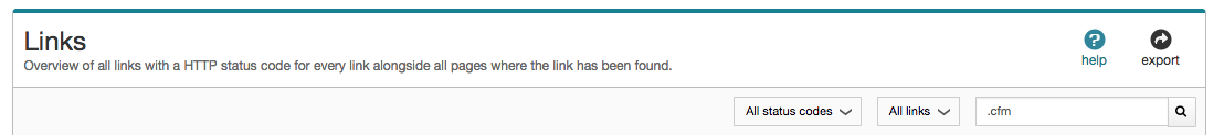 SiteImprove link search bar. Type in .cfm.
