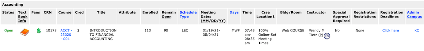 Kent State University Senior Guest Schedule of Classes Example Screenshot