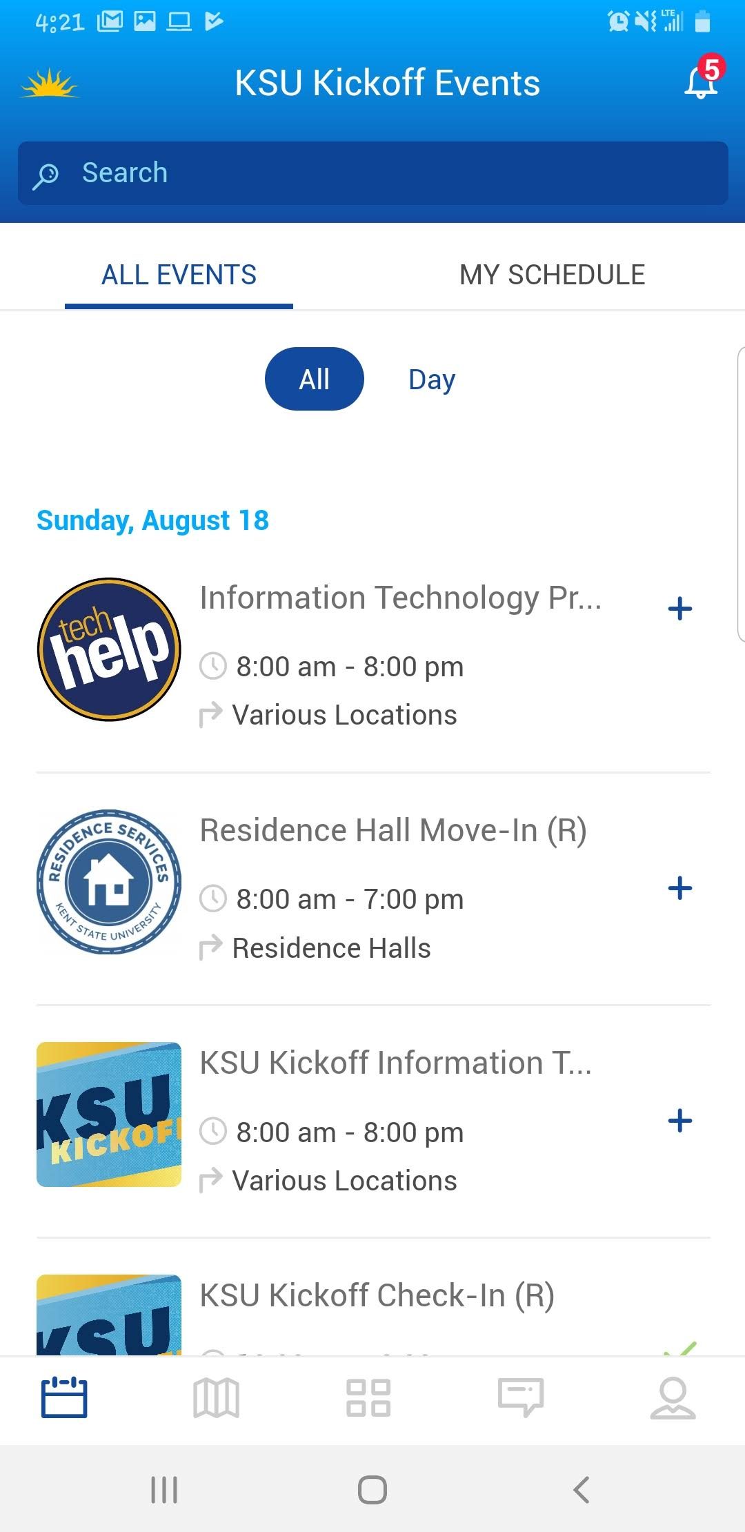 Screenshot of Events in KSU Kickoff App