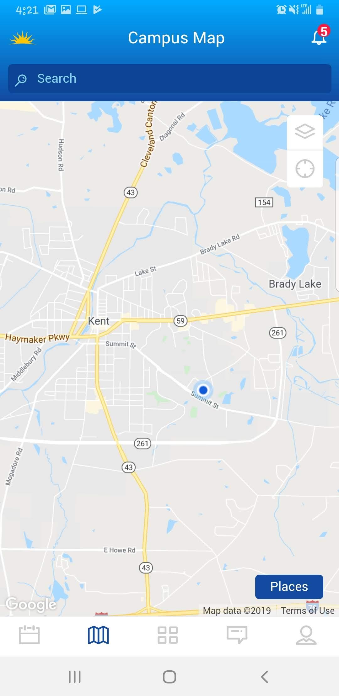 Screenshot showing Google Maps in the KSU Kickoff app