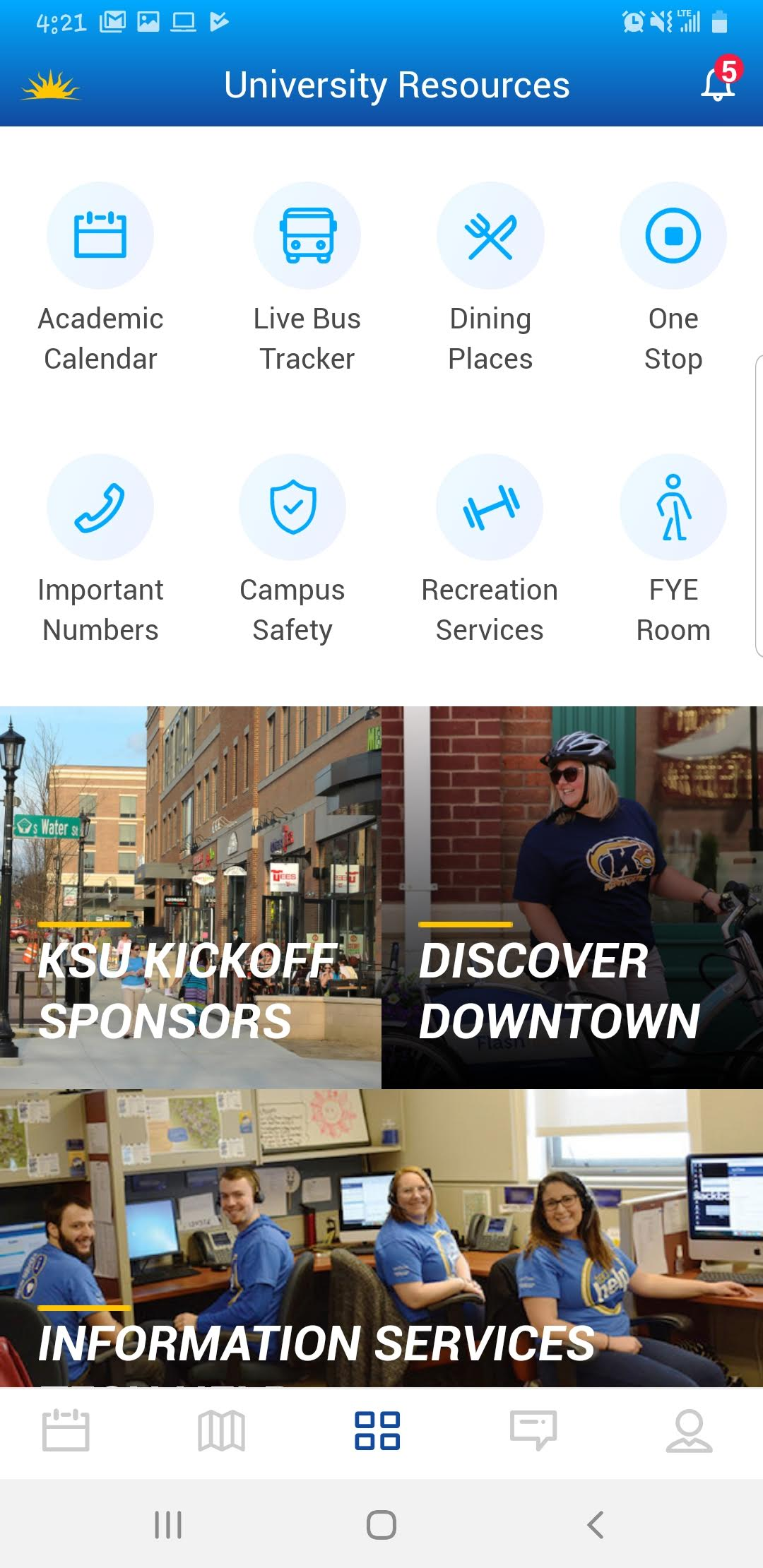 Screenshot showing university resources such as the bus tracking and dining locations in the KSU Kickoff app