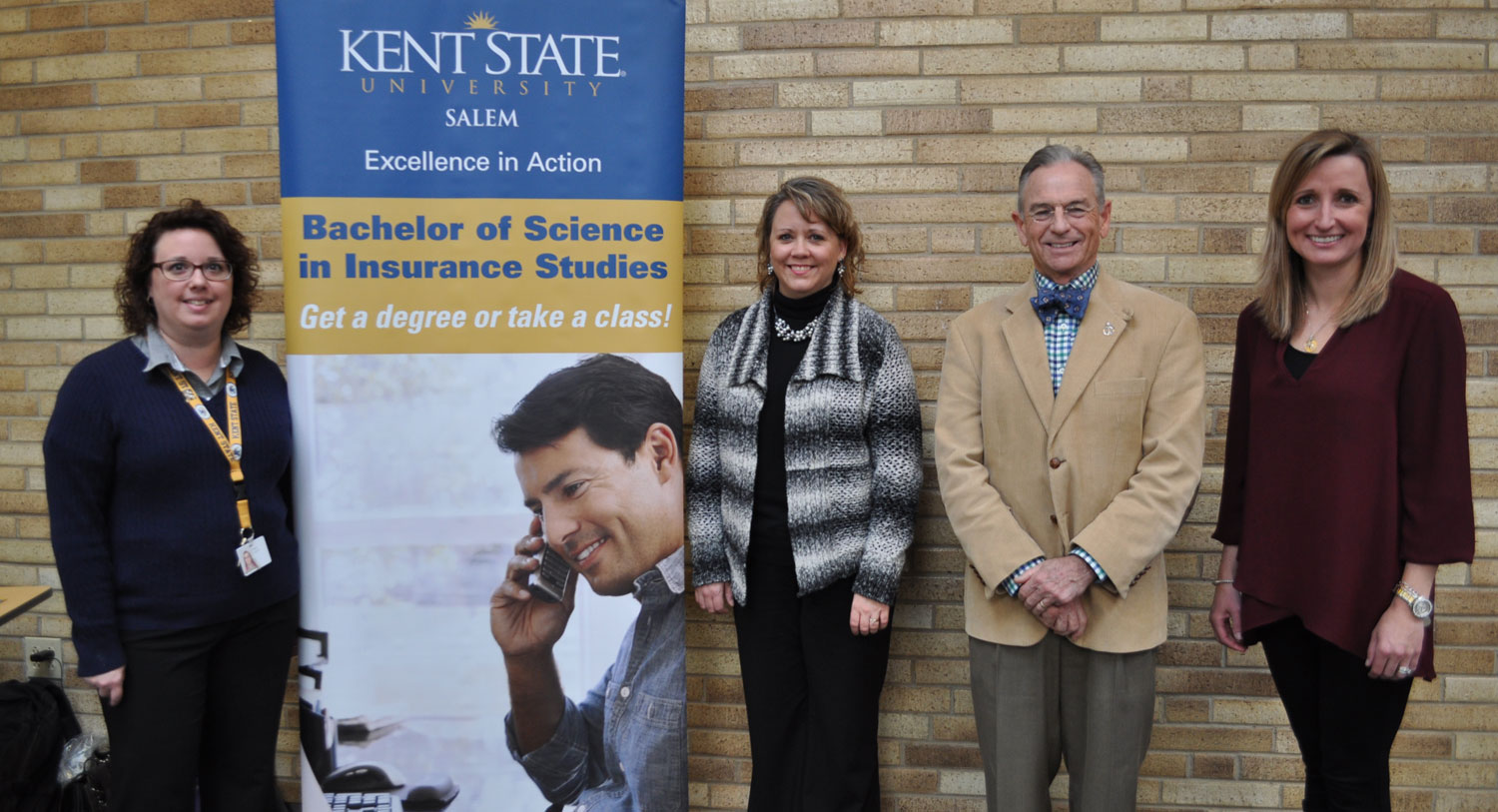 Sharing information about the Insurance Studies program and working in the insurance industry were (from left) Jennifer Buck, Andi Starkey, Dr. Steve Nameth and Janie Geis.