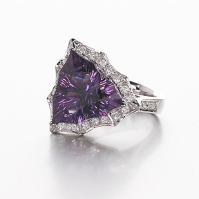 Smith's Four Peaks Amethyst ring, acquired by the Smithsonian Institution for its national gem collection, features an amethyst mined from the Four Peaks range in Arizona. She is currently working on another piece with freshwater pearls from the Tennessee River for the Smithsonian's Museum of Natural History.