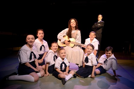 "Porthouse Theatre's final production in its 2012 season is the Rodgers and Hammerstein family favorite ""The Sound of Music"" featuring Kayce Cummings as Maria and Larry Nehring as Captain Georg von Trapp. Also pictured (left to right) are Courtney Nelson (Louisa), Lucy Anders (Liesl), Cameron Nelson (Brigitta), Carly Nelson (Gretl), Cassidy Nelson (Marta), Cameron Howard (Friedrich) and Sam Culver (Kurt)"