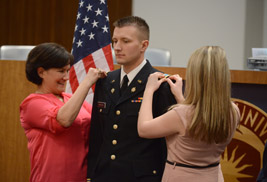 David Herchick was decorated by members of his family during his recent commissioning as a second lieutenant.