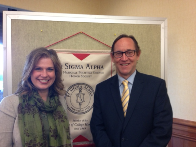 Dr. Steve Hook along with a new member of the Pi Sigma Alpha Society