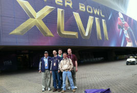 The Kent State TeleProductions crew get together for a photo in New Orleans where they provided support capabilities for the BBC's broadcast of the Super Bowl.