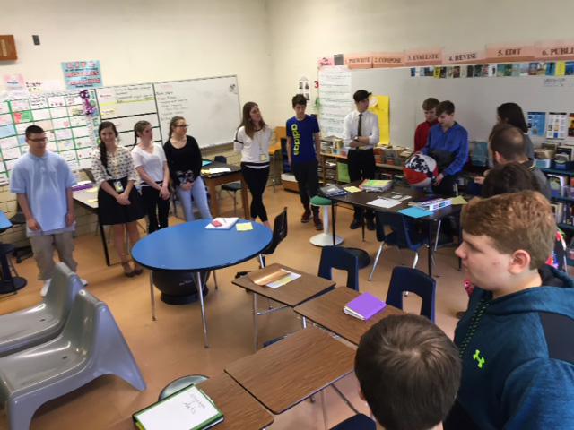 Tallmadge Middle School students working with Kent State pre-service teachers