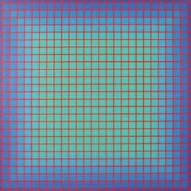 "Conferring Blue, Julian Stanczak, Serigraph, 25"" x 25"" 1981"