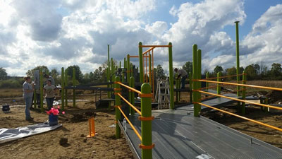 The playground is beginning to take shape