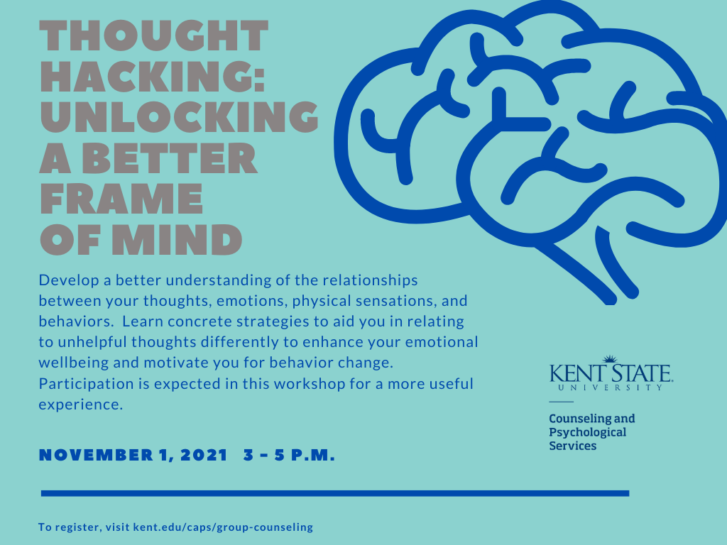 Thought Hacking: Unlocking a better frame of mind. November 1, 2021 3 - 5 P.M.