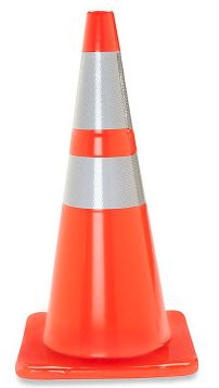 Traffic cone graphic indicating construction on the Kent State campus