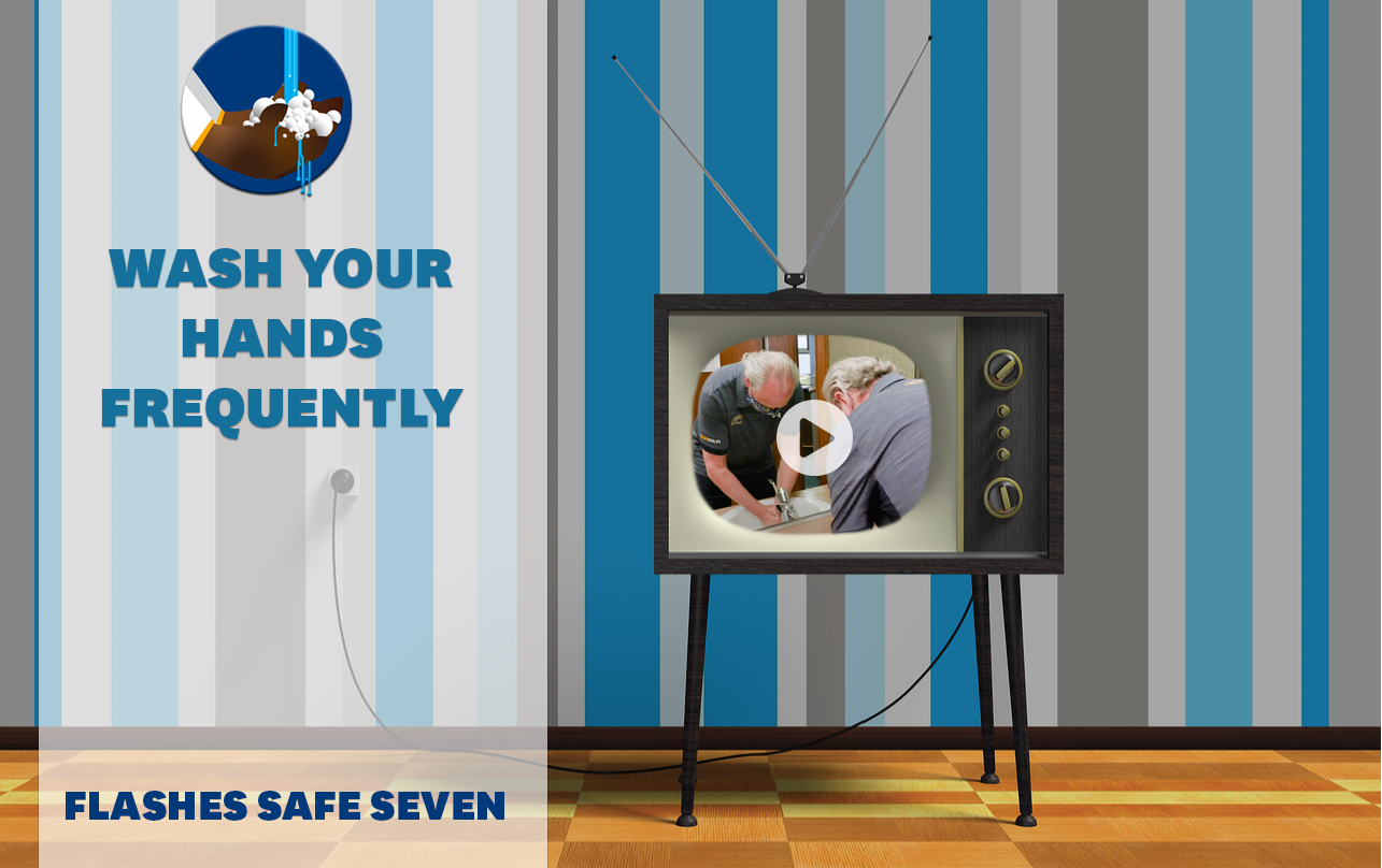 Flashes Safe Seven: Wash your hands frequently. TV screen with embed of President Diacon washing his hand with playhead over the TV.